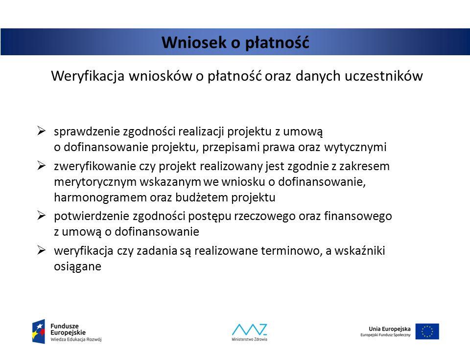 Weryfikacja wniosków o płatność oraz danych uczestników  sprawdzenie zgodności realizacji projektu z umową o dofinansowanie projektu, przepisami praw