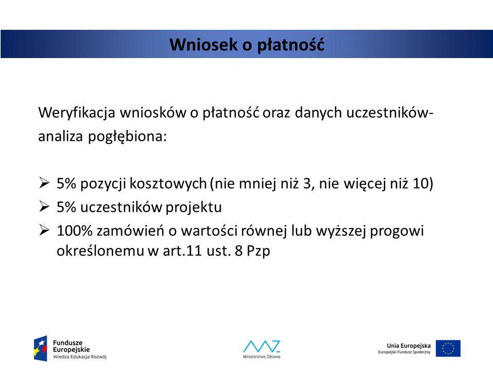 Wniosek o płatność Weryfikacja wniosków o płatność oraz danych uczestników- analiza pogłębiona:  5% pozycji kosztowych (nie mniej niż 3, nie więcej n