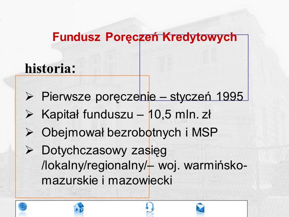 Fundusz Poręczeń Kredytowych historia :  Pierwsze poręczenie – styczeń 1995  Kapitał funduszu – 10,5 mln.