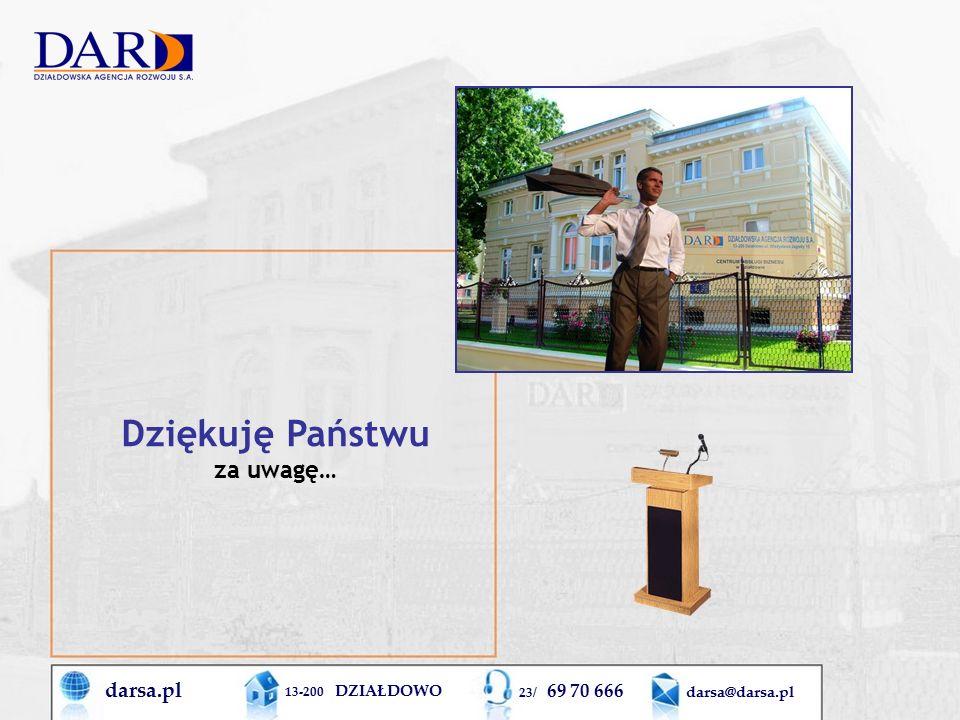 darsa.pl 13-200 DZIAŁDOWO 23/ 69 70 666 darsa@darsa.pl Dziękuję Państwu za uwagę…