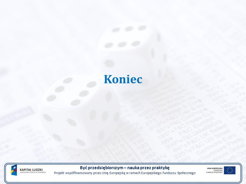 Koniec Być przedsiębiorczym – nauka przez praktykę Projekt współfinansowany przez Unię Europejską w ramach Europejskiego Funduszu Społecznego