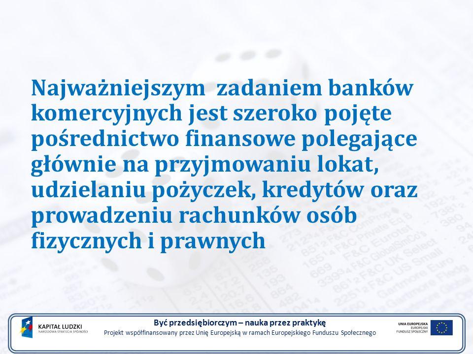 Najważniejszym zadaniem banków komercyjnych jest szeroko pojęte pośrednictwo finansowe polegające głównie na przyjmowaniu lokat, udzielaniu pożyczek, kredytów oraz prowadzeniu rachunków osób fizycznych i prawnych Być przedsiębiorczym – nauka przez praktykę Projekt współfinansowany przez Unię Europejską w ramach Europejskiego Funduszu Społecznego