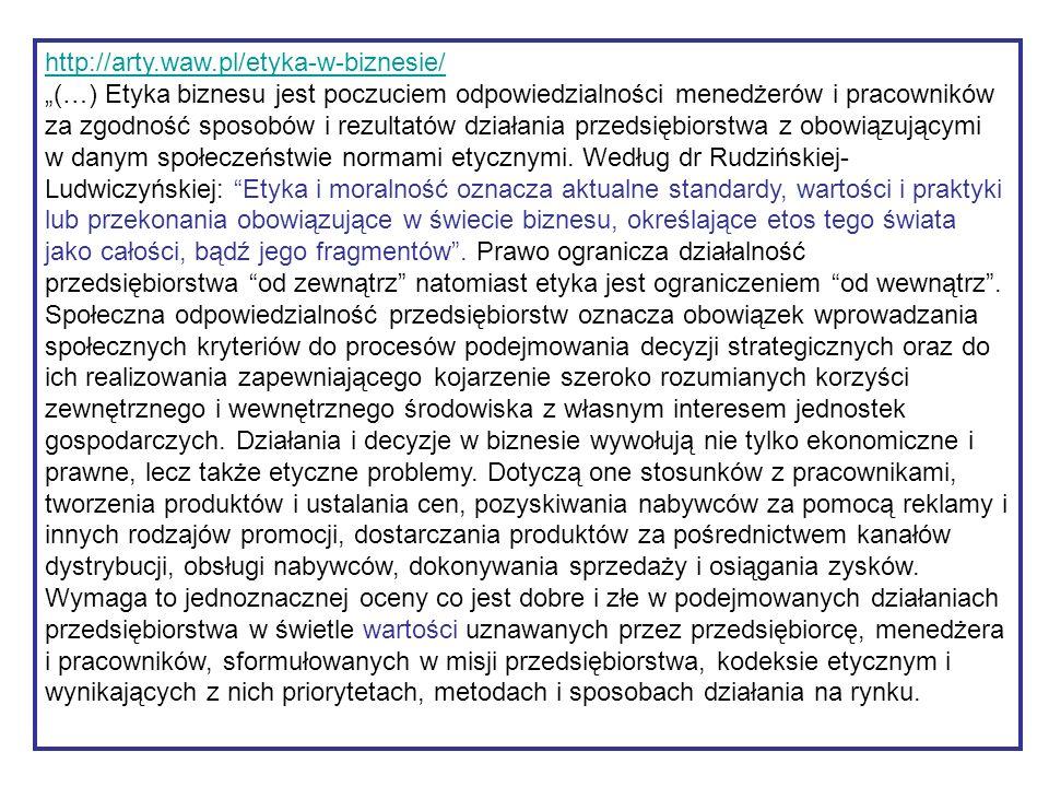 """http://arty.waw.pl/etyka-w-biznesie/ """"(…) Etyka biznesu jest poczuciem odpowiedzialności menedżerów i pracowników za zgodność sposobów i rezultatów dz"""