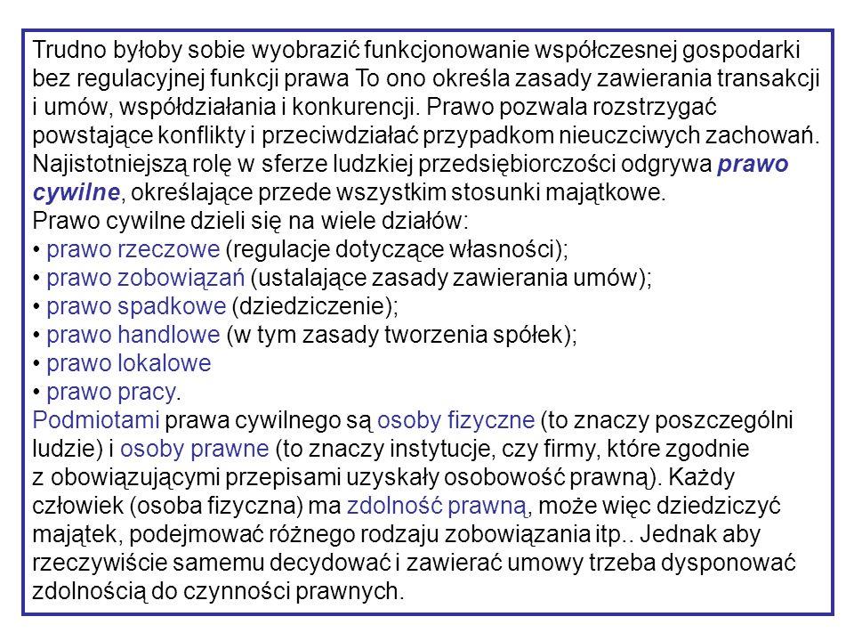 SPRAWDŹ SIĘ ZANIM SPRAWDZĄ CIĘ INNI .1.W jaki sposób prawo reguluje życie gospodarcze w Polsce .