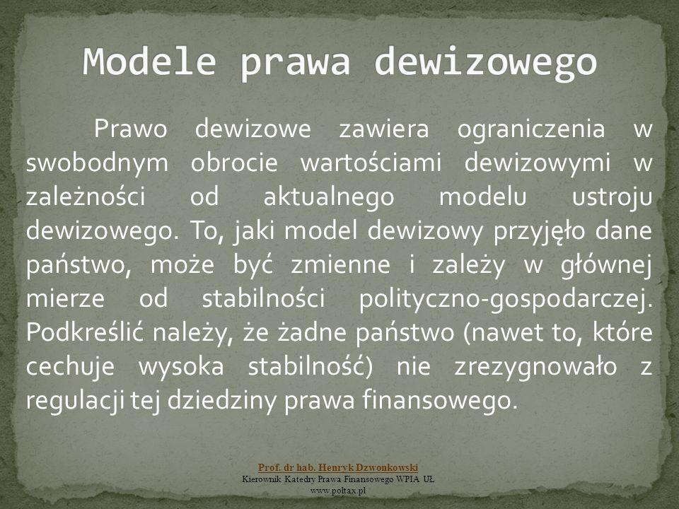 Prawo dewizowe zawiera ograniczenia w swobodnym obrocie wartościami dewizowymi w zależności od aktualnego modelu ustroju dewizowego. To, jaki model de