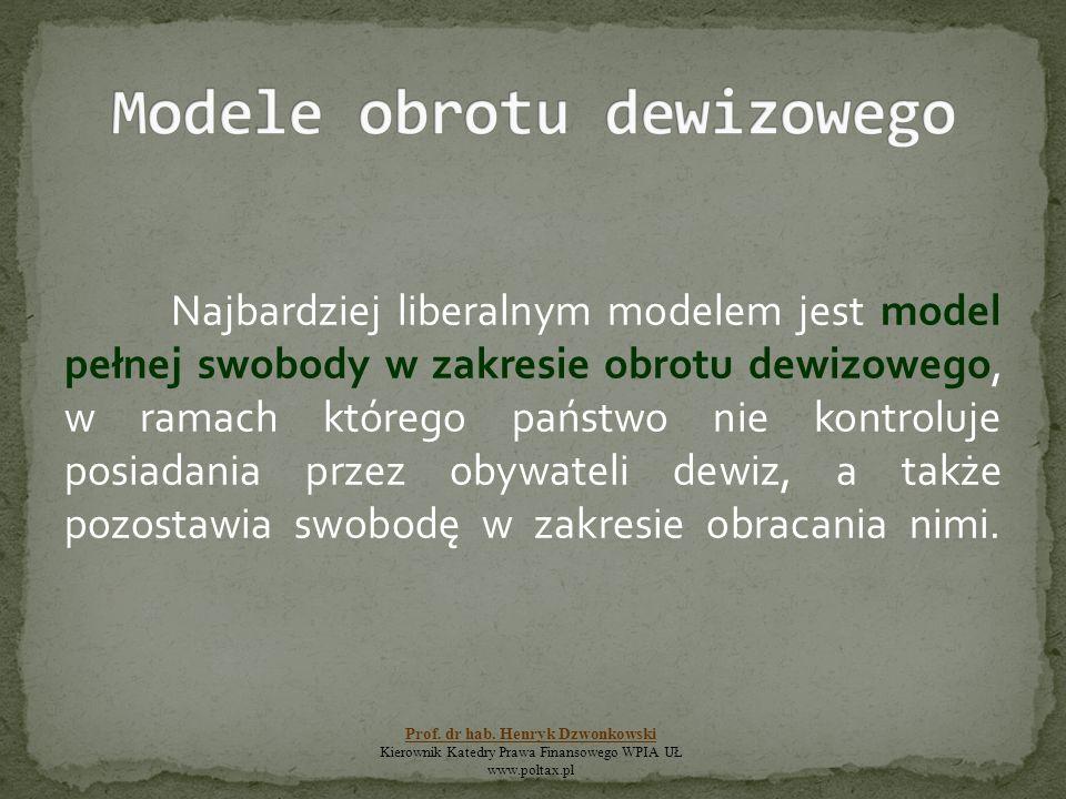 Najbardziej liberalnym modelem jest model pełnej swobody w zakresie obrotu dewizowego, w ramach którego państwo nie kontroluje posiadania przez obywat