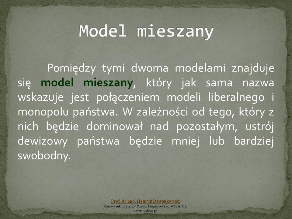 Pomiędzy tymi dwoma modelami znajduje się model mieszany, który jak sama nazwa wskazuje jest połączeniem modeli liberalnego i monopolu państwa. W zale