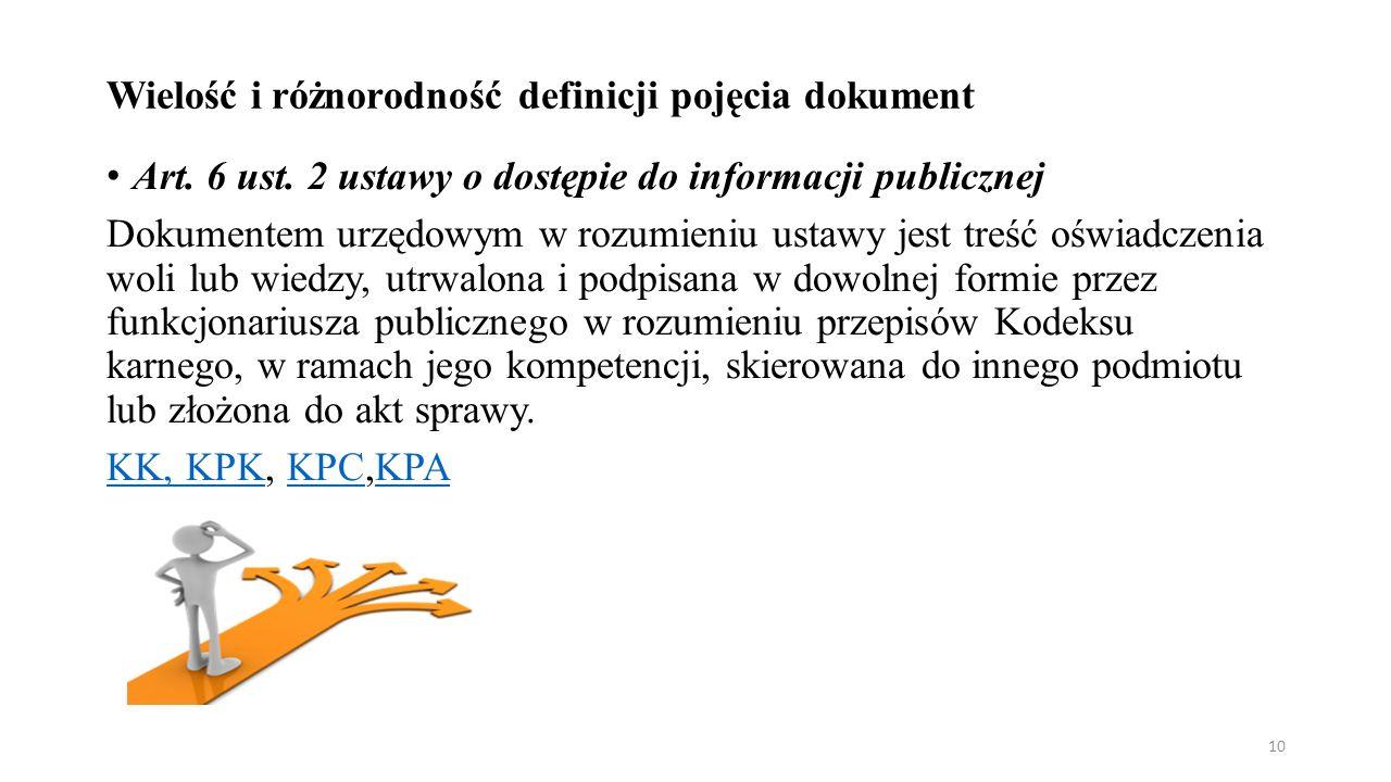 Wielość i różnorodność definicji pojęcia dokument Art.
