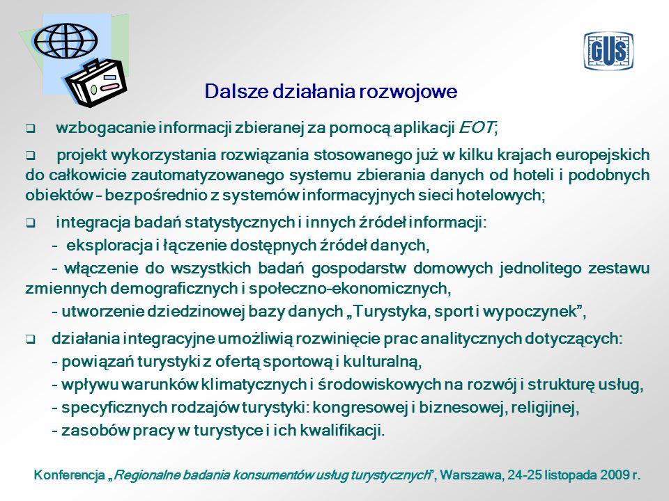 """Konferencja """"Regionalne badania konsumentów usług turystycznych , Warszawa, 24-25 listopada 2009 r."""