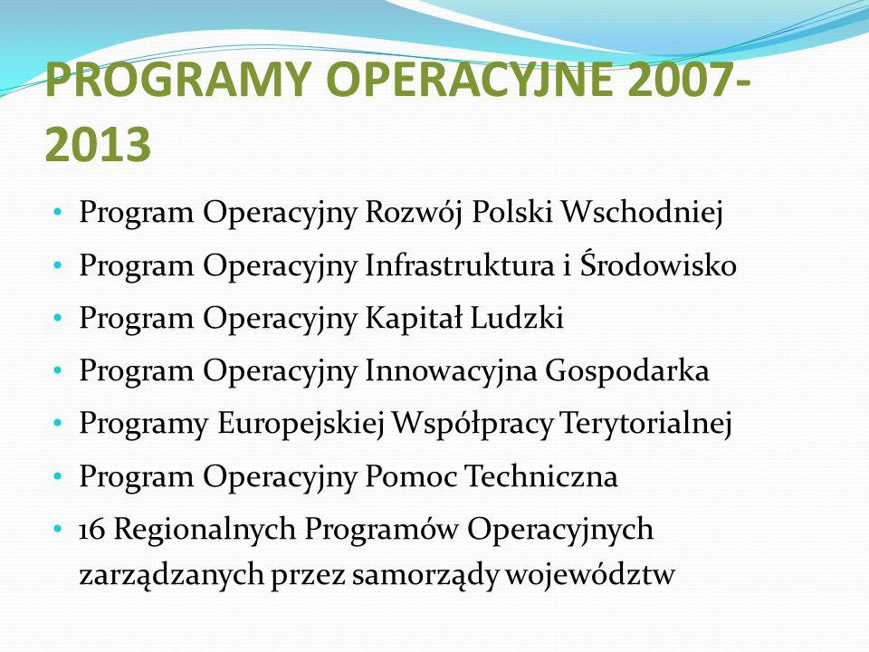 PROGRAMY OPERACYJNE 2007- 2013 Program Operacyjny Rozwój Polski Wschodniej Program Operacyjny Infrastruktura i Środowisko Program Operacyjny Kapitał Ludzki Program Operacyjny Innowacyjna Gospodarka Programy Europejskiej Współpracy Terytorialnej Program Operacyjny Pomoc Techniczna 16 Regionalnych Programów Operacyjnych zarządzanych przez samorządy województw