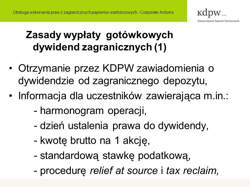 Zasady wypłaty gotówkowych dywidend zagranicznych (1) Otrzymanie przez KDPW zawiadomienia o dywidendzie od zagranicznego depozytu, Informacja dla uczestników zawierająca m.in.: - harmonogram operacji, - dzień ustalenia prawa do dywidendy, - kwotę brutto na 1 akcję, - standardową stawkę podatkową, - procedurę relief at source i tax reclaim, Obsługa wykonania praw z zagranicznych papierów wartościowych - Corporate Actions