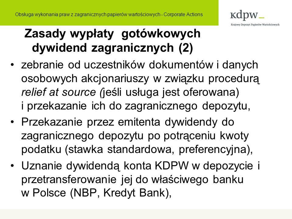 Zasady wypłaty gotówkowych dywidend zagranicznych (2) zebranie od uczestników dokumentów i danych osobowych akcjonariuszy w związku procedurą relief a