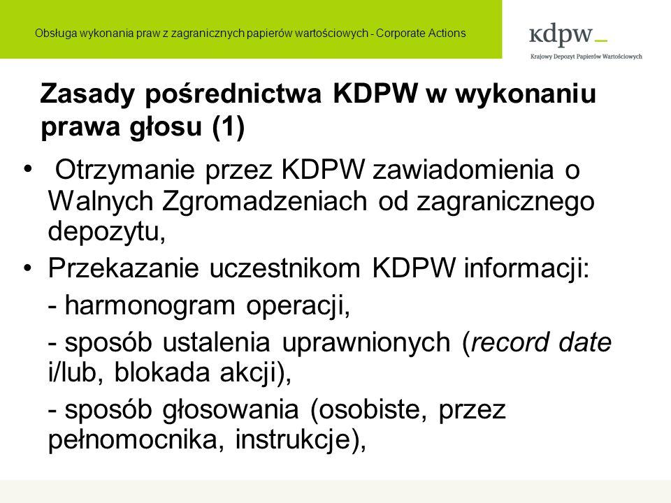 Zasady pośrednictwa KDPW w wykonaniu prawa głosu (1) Otrzymanie przez KDPW zawiadomienia o Walnych Zgromadzeniach od zagranicznego depozytu, Przekazan
