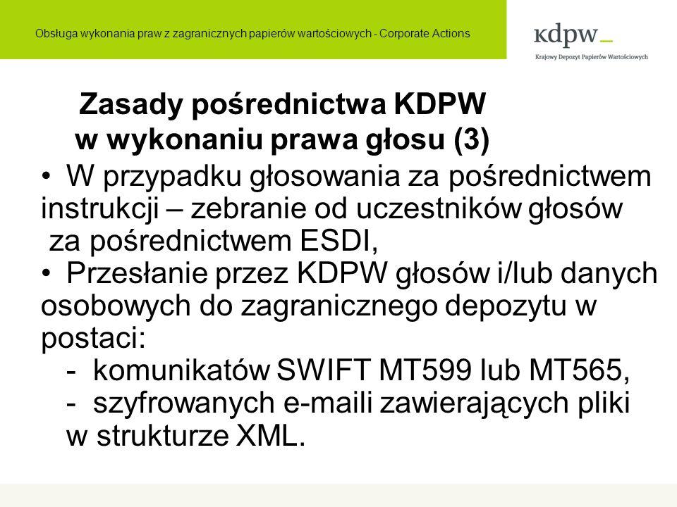 Zasady pośrednictwa KDPW w wykonaniu prawa głosu (3) W przypadku głosowania za pośrednictwem instrukcji – zebranie od uczestników głosów za pośrednict