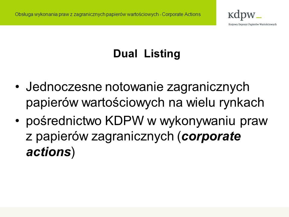 Dual Listing Jednoczesne notowanie zagranicznych papierów wartościowych na wielu rynkach pośrednictwo KDPW w wykonywaniu praw z papierów zagranicznych (corporate actions) Obsługa wykonania praw z zagranicznych papierów wartościowych - Corporate Actions