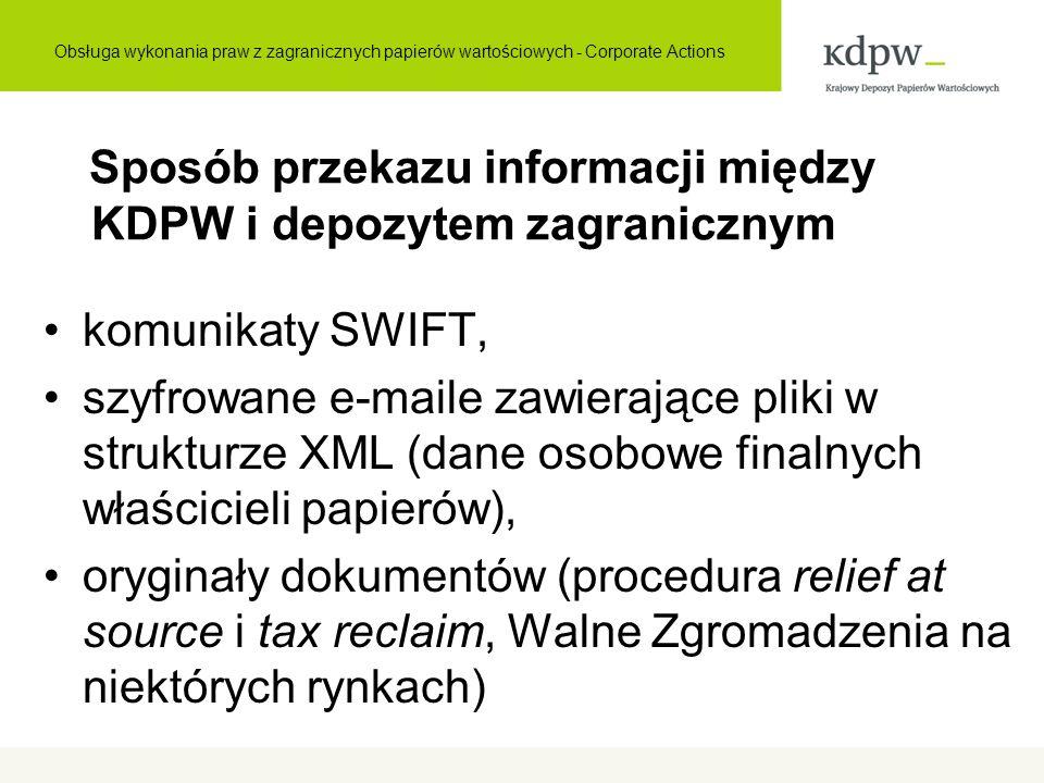 Sposób przekazu informacji między KDPW i depozytem zagranicznym komunikaty SWIFT, szyfrowane e-maile zawierające pliki w strukturze XML (dane osobowe finalnych właścicieli papierów), oryginały dokumentów (procedura relief at source i tax reclaim, Walne Zgromadzenia na niektórych rynkach) Obsługa wykonania praw z zagranicznych papierów wartościowych - Corporate Actions