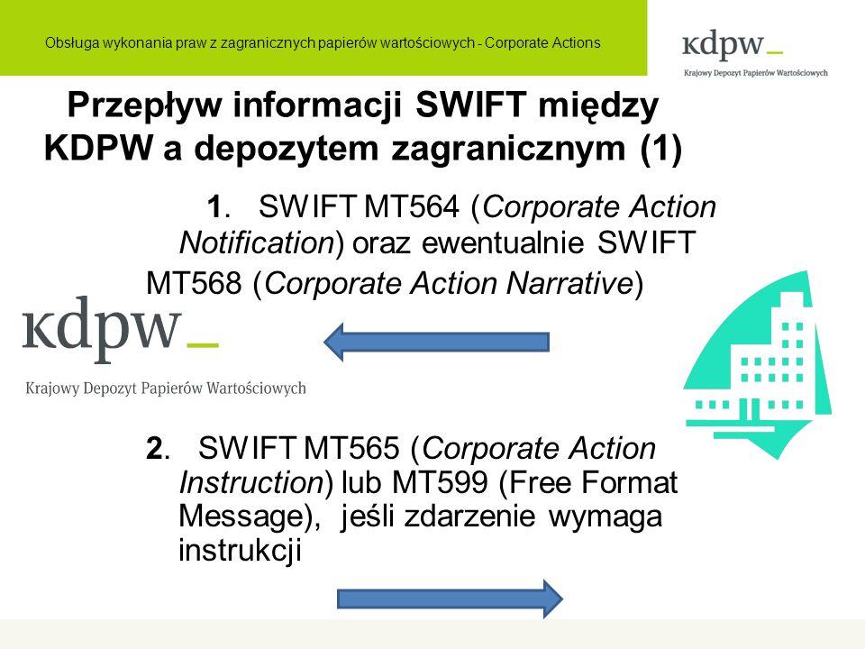 Przepływ informacji SWIFT między KDPW a depozytem zagranicznym (1) 1. SWIFT MT564 (Corporate Action Notification) oraz ewentualnie SWIFT MT568 (Corpor