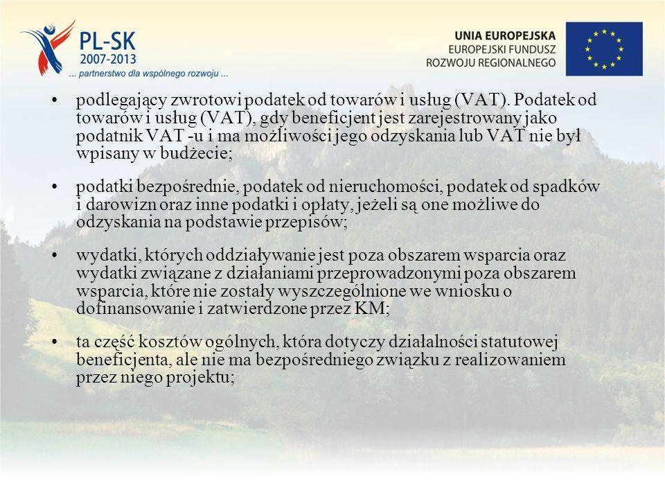 podlegający zwrotowi podatek od towarów i usług (VAT).