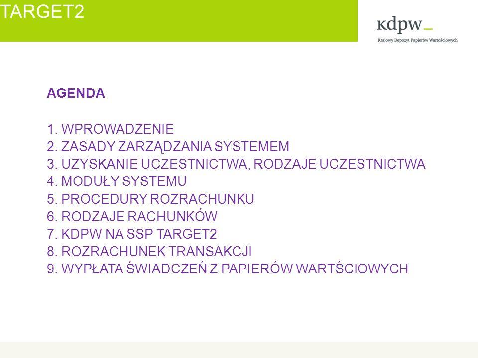 TARGET2 AGENDA 1. WPROWADZENIE 2. ZASADY ZARZĄDZANIA SYSTEMEM 3.