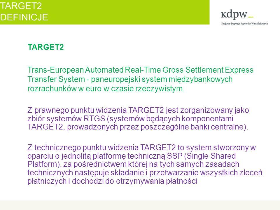 """Migracja KDPW na SSP T2 – maj 2012 – ostatnie """"okienko migracyjne listopad 2011 Uczestnictwo: Bezpośrednie System Zewnętrzny Rodzaje operacji: Rozrachunek transakcji w trybie brutto i netto Obsługa wypłaty świadczeń z papierów wartościowych Rodzaje rachunków: Rachunek RTGS – przechowywanie środków, transfer środków do/od emitentów (standard MT…) Rachunek techniczny – obsługa procedury 2 (standard XML) Procedura rozrachunku: PROCEDURA 2 Moduły: ICM, PM Interfejsy do PM: ASI, PI Obciążanie/uznawanie rachunków banków płatników w TARGET2-NBP (w zagranicznych komponentach) TARGET2 KDPW NA SSP T2"""