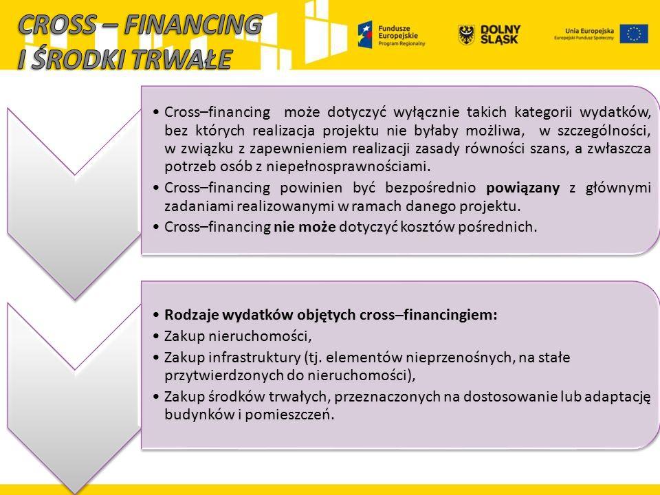 Cross–financing może dotyczyć wyłącznie takich kategorii wydatków, bez których realizacja projektu nie byłaby możliwa, w szczególności, w związku z za