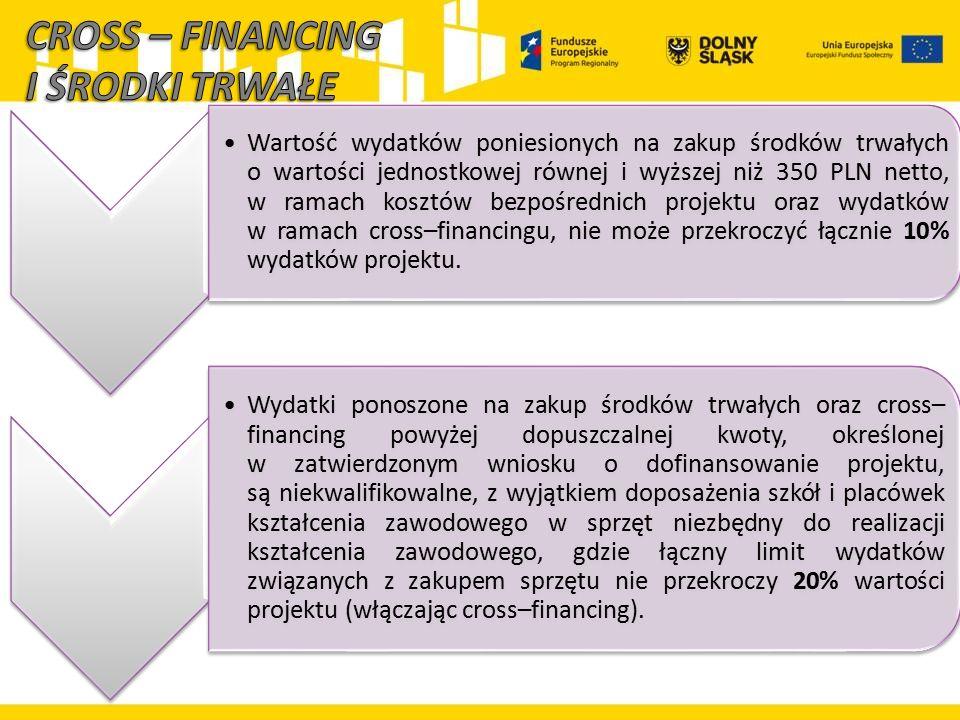 Wartość wydatków poniesionych na zakup środków trwałych o wartości jednostkowej równej i wyższej niż 350 PLN netto, w ramach kosztów bezpośrednich pro