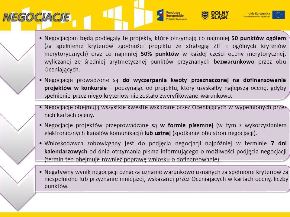 Negocjacjom będą podlegały te projekty, które otrzymają co najmniej 50 punktów ogółem (za spełnienie kryteriów zgodności projektu ze strategią ZIT i o