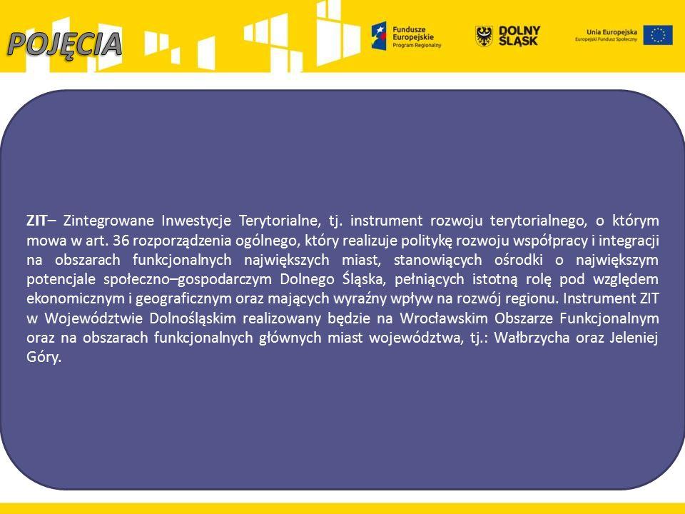 ZIT – Zintegrowane Inwestycje Terytorialne, tj. instrument rozwoju terytorialnego, o którym mowa w art. 36 rozporządzenia ogólnego, który realizuje po