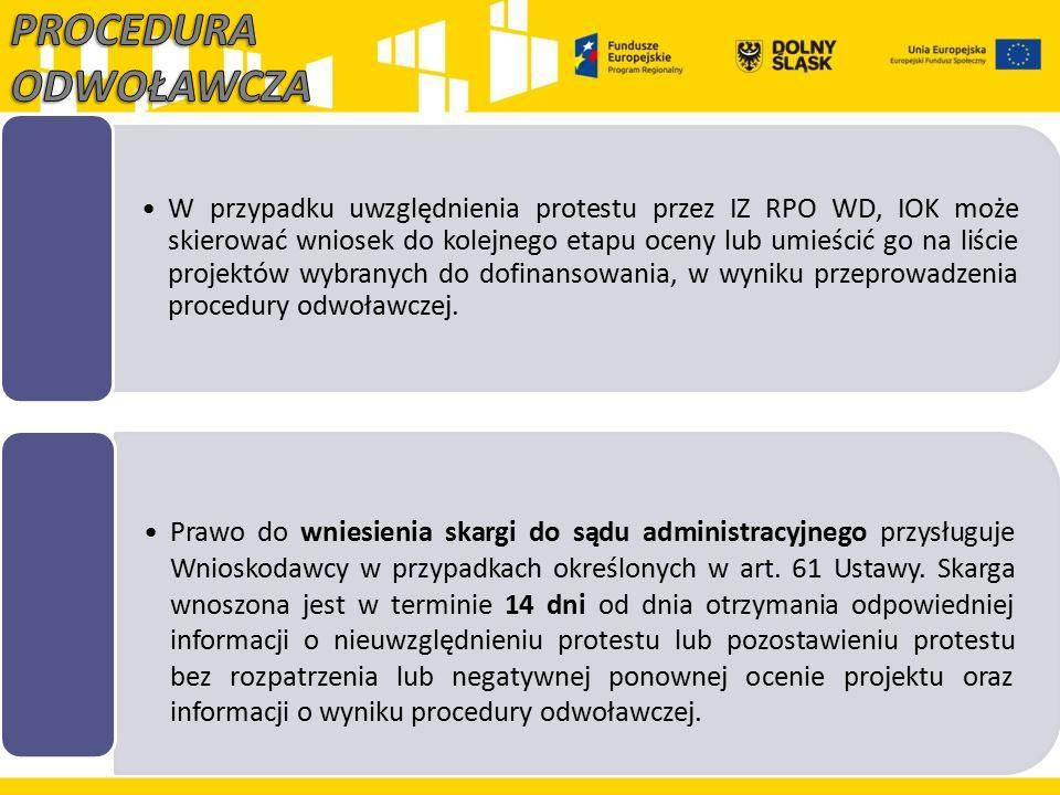 W przypadku uwzględnienia protestu przez IZ RPO WD, IOK może skierować wniosek do kolejnego etapu oceny lub umieścić go na liście projektów wybranych
