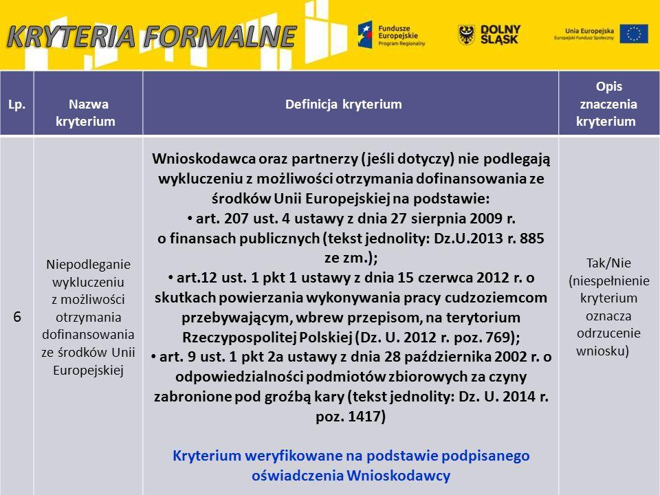 Lp.Nazwa kryterium Definicja kryterium Opis znaczenia kryterium 6 Niepodleganie wykluczeniu z możliwości otrzymania dofinansowania ze środków Unii Eur