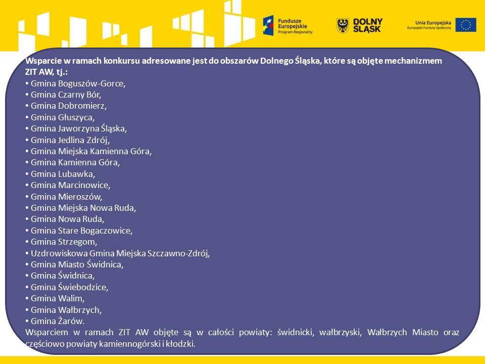 Wsparcie w ramach konkursu adresowane jest do obszarów Dolnego Śląska, które są objęte mechanizmem ZIT AW, tj.: Gmina Boguszów-Gorce, Gmina Czarny Bór