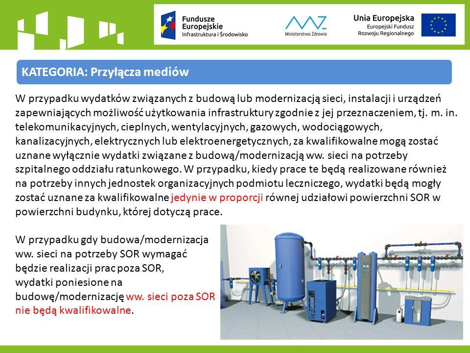KATEGORIA: Przyłącza mediów W przypadku wydatków związanych z budową lub modernizacją sieci, instalacji i urządzeń zapewniających możliwość użytkowania infrastruktury zgodnie z jej przeznaczeniem, tj.