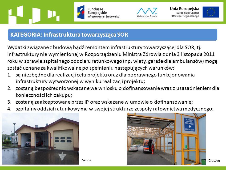 KATEGORIA: Infrastruktura towarzysząca SOR Wydatki związane z budową bądź remontem infrastruktury towarzyszącej dla SOR, tj.