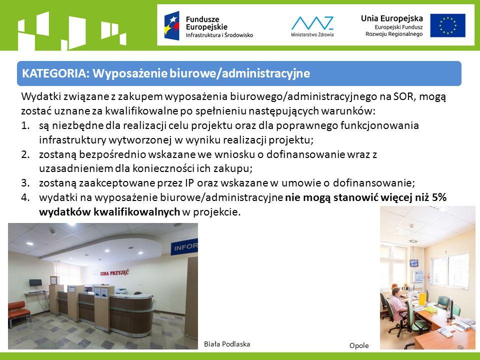 KATEGORIA: Wyposażenie biurowe/administracyjne Wydatki związane z zakupem wyposażenia biurowego/administracyjnego na SOR, mogą zostać uznane za kwalifikowalne po spełnieniu następujących warunków: 1.są niezbędne dla realizacji celu projektu oraz dla poprawnego funkcjonowania infrastruktury wytworzonej w wyniku realizacji projektu; 2.zostaną bezpośrednio wskazane we wniosku o dofinansowanie wraz z uzasadnieniem dla konieczności ich zakupu; 3.zostaną zaakceptowane przez IP oraz wskazane w umowie o dofinansowanie; 4.wydatki na wyposażenie biurowe/administracyjne nie mogą stanowić więcej niż 5% wydatków kwalifikowalnych w projekcie.
