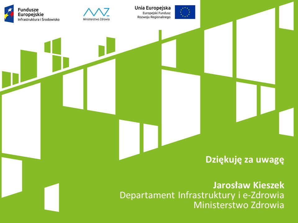 Dziękuję za uwagę Jarosław Kieszek Departament Infrastruktury i e-Zdrowia Ministerstwo Zdrowia
