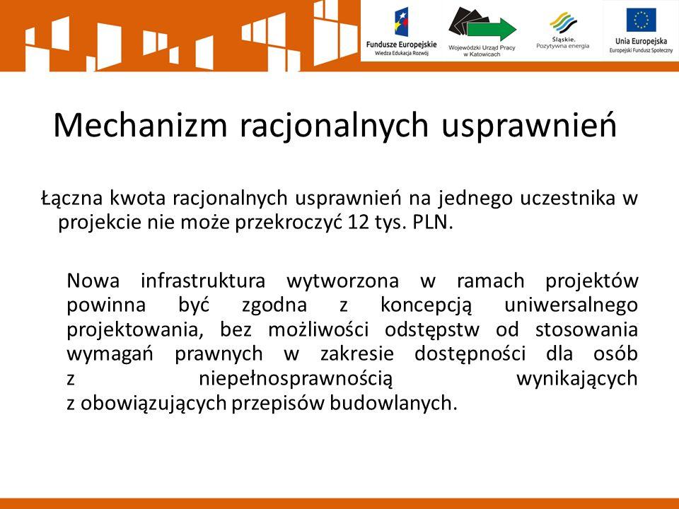 Mechanizm racjonalnych usprawnień Łączna kwota racjonalnych usprawnień na jednego uczestnika w projekcie nie może przekroczyć 12 tys. PLN. Nowa infras