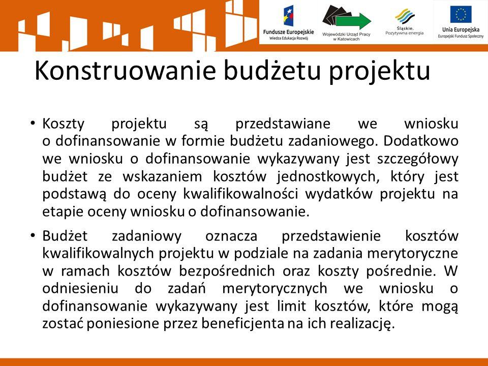 Konstruowanie budżetu projektu Koszty projektu są przedstawiane we wniosku o dofinansowanie w formie budżetu zadaniowego. Dodatkowo we wniosku o dofin