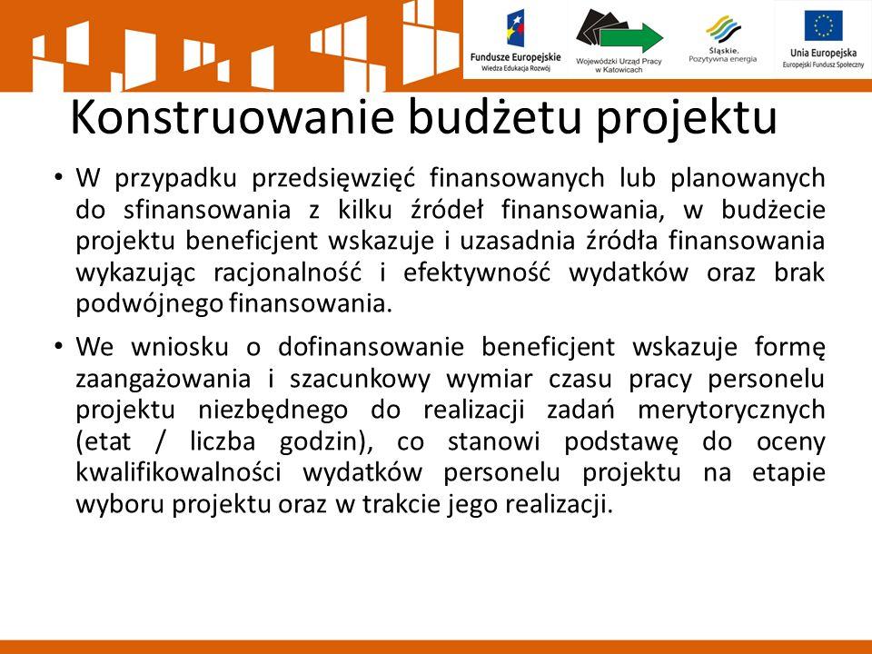 Konstruowanie budżetu projektu W przypadku przedsięwzięć finansowanych lub planowanych do sfinansowania z kilku źródeł finansowania, w budżecie projektu beneficjent wskazuje i uzasadnia źródła finansowania wykazując racjonalność i efektywność wydatków oraz brak podwójnego finansowania.