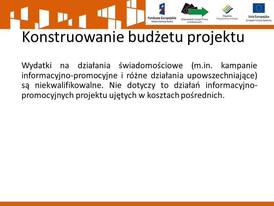Konstruowanie budżetu projektu Wydatki na działania świadomościowe (m.in.