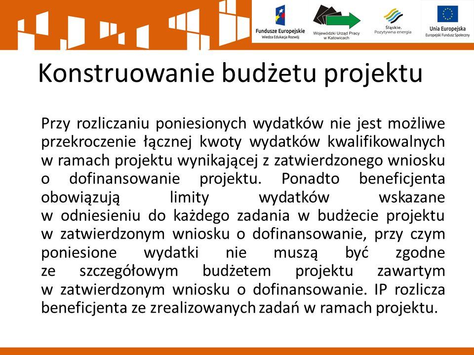 Konstruowanie budżetu projektu Przy rozliczaniu poniesionych wydatków nie jest możliwe przekroczenie łącznej kwoty wydatków kwalifikowalnych w ramach projektu wynikającej z zatwierdzonego wniosku o dofinansowanie projektu.