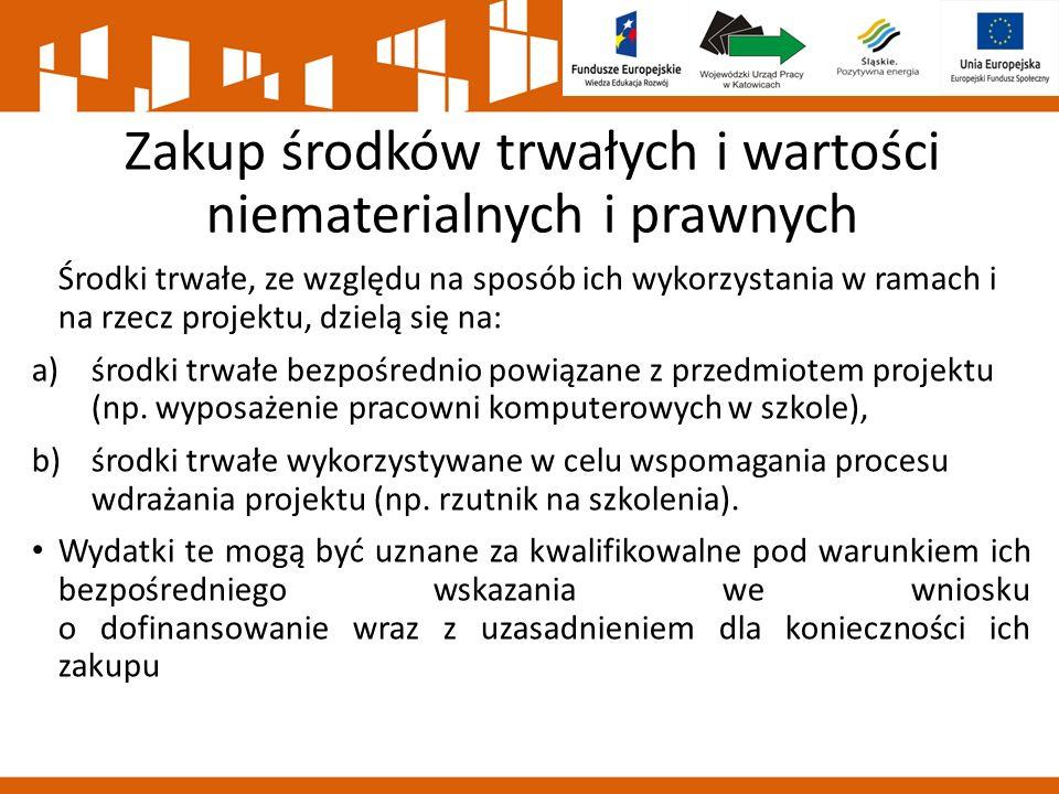 Zakup środków trwałych i wartości niematerialnych i prawnych Środki trwałe, ze względu na sposób ich wykorzystania w ramach i na rzecz projektu, dziel