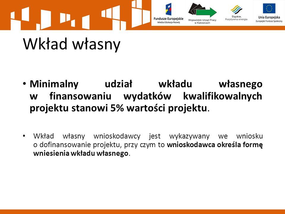 Wkład własny Minimalny udział wkładu własnego w finansowaniu wydatków kwalifikowalnych projektu stanowi 5% wartości projektu.