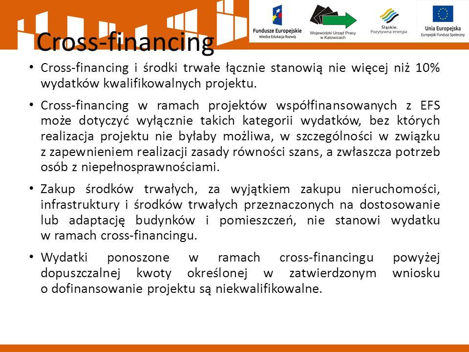 Cross-financing Cross-financing i środki trwałe łącznie stanowią nie więcej niż 10% wydatków kwalifikowalnych projektu. Cross-financing w ramach proje