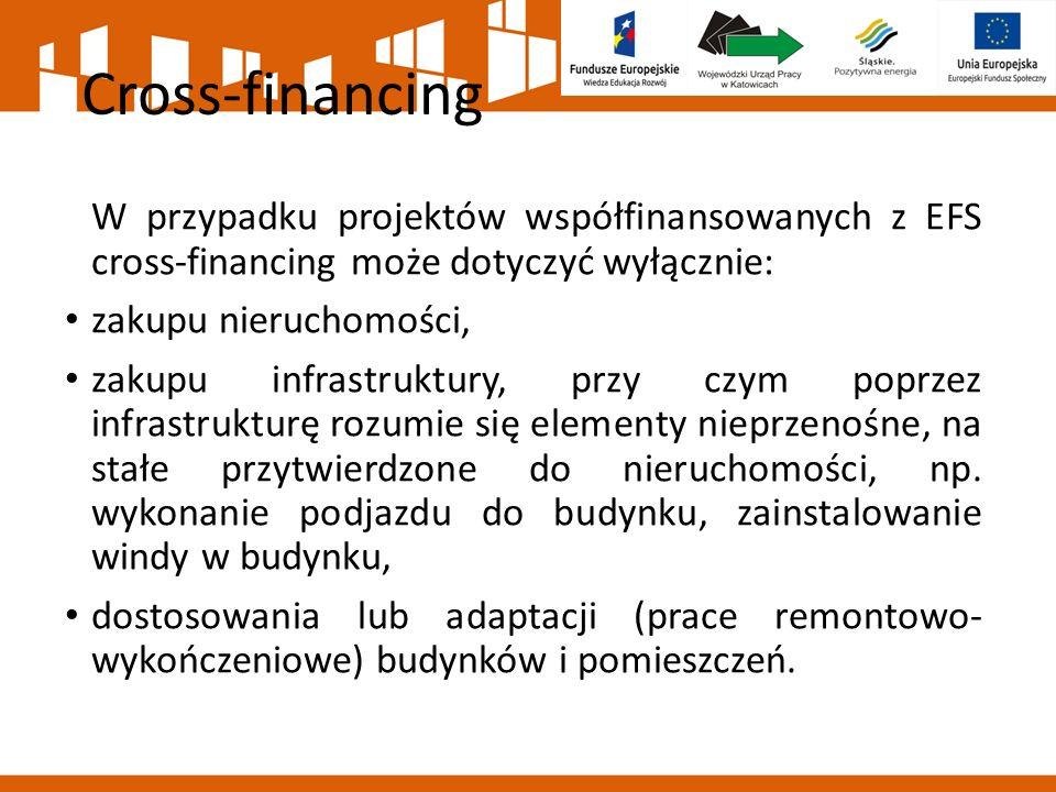 Cross-financing W przypadku projektów współfinansowanych z EFS cross-financing może dotyczyć wyłącznie: zakupu nieruchomości, zakupu infrastruktury, p