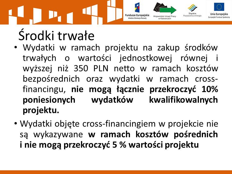 Środki trwałe Wydatki w ramach projektu na zakup środków trwałych o wartości jednostkowej równej i wyższej niż 350 PLN netto w ramach kosztów bezpośrednich oraz wydatki w ramach cross- financingu, nie mogą łącznie przekroczyć 10% poniesionych wydatków kwalifikowalnych projektu.