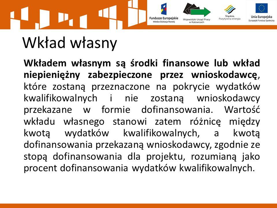 Wkład własny Wkładem własnym są środki finansowe lub wkład niepieniężny zabezpieczone przez wnioskodawcę, które zostaną przeznaczone na pokrycie wydatków kwalifikowalnych i nie zostaną wnioskodawcy przekazane w formie dofinansowania.