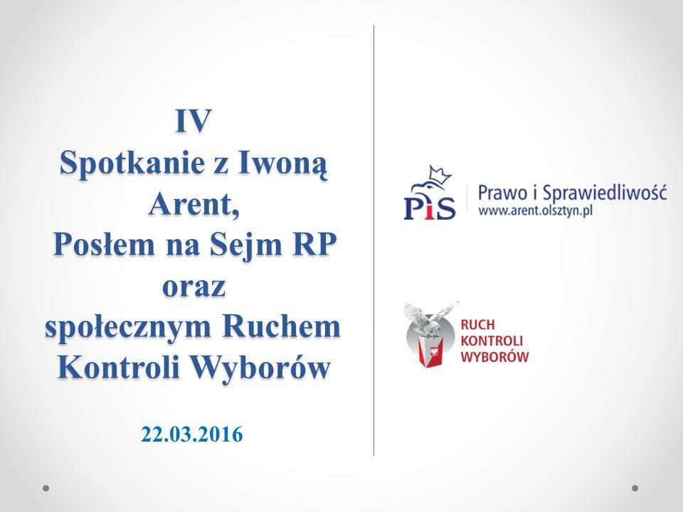 IV Spotkanie z Iwoną Arent, Posłem na Sejm RP oraz społecznym Ruchem Kontroli Wyborów 22.03.2016