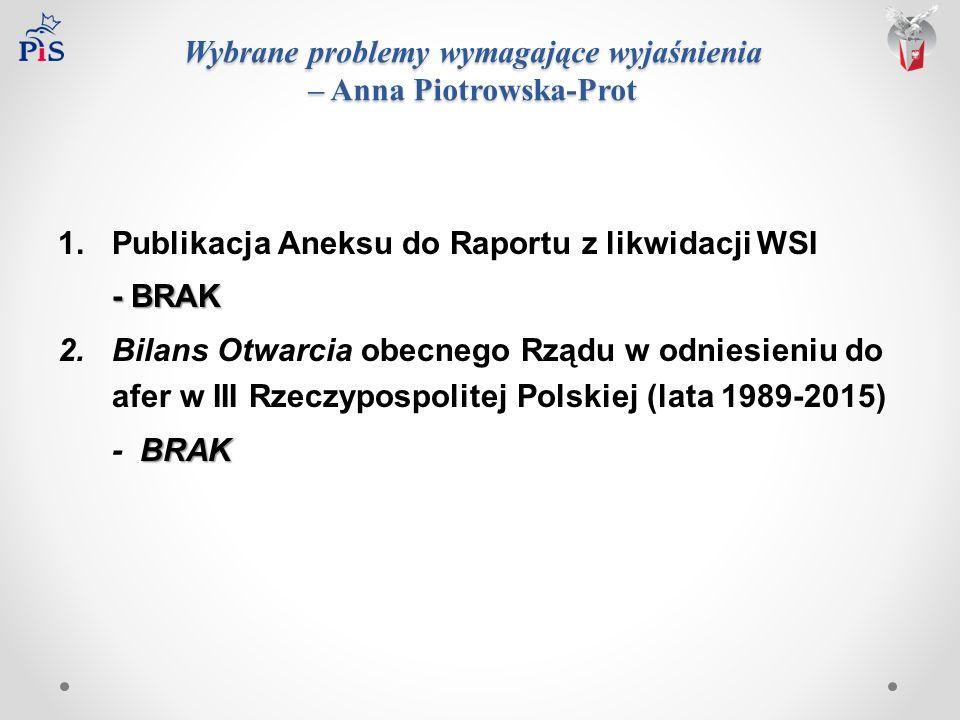 Wybrane problemy wymagające wyjaśnienia – Anna Piotrowska-Prot 1.Publikacja Aneksu do Raportu z likwidacji WSI - BRAK 2.Bilans Otwarcia obecnego Rządu w odniesieniu do afer w III Rzeczypospolitej Polskiej (lata 1989-2015) BRAK - BRAK