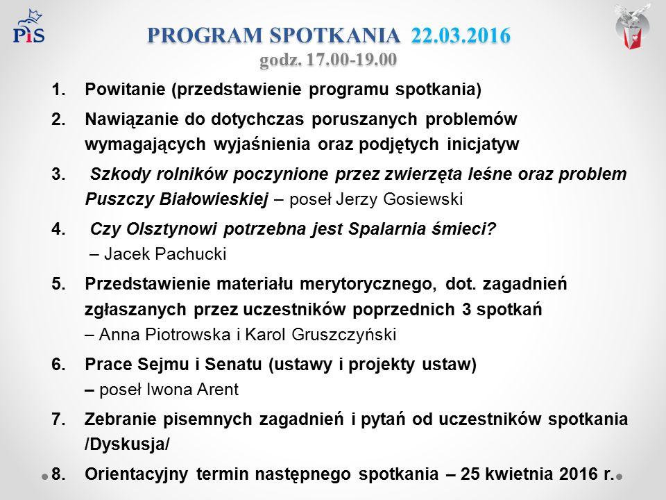 Orientacyjny termin następnego spotkania 25 kwietnia 2016 - poniedziałek, godz. 17.00 – 19.00