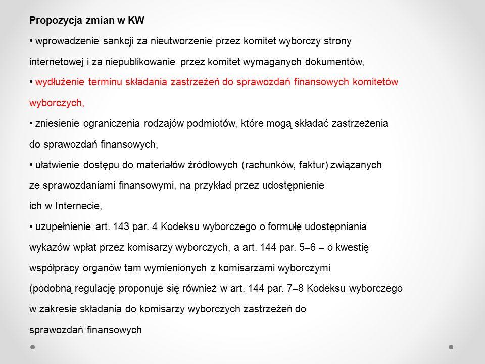 Propozycja zmian w KW wprowadzenie sankcji za nieutworzenie przez komitet wyborczy strony internetowej i za niepublikowanie przez komitet wymaganych dokumentów, wydłużenie terminu składania zastrzeżeń do sprawozdań finansowych komitetów wyborczych, zniesienie ograniczenia rodzajów podmiotów, które mogą składać zastrzeżenia do sprawozdań finansowych, ułatwienie dostępu do materiałów źródłowych (rachunków, faktur) związanych ze sprawozdaniami finansowymi, na przykład przez udostępnienie ich w Internecie, uzupełnienie art.